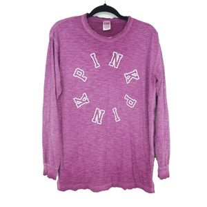VS Pink Distressed Long Sleeve Stretch Tee  (D5)